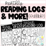 Reading Logs! Monthly Editable Reading Logs, Response Shee