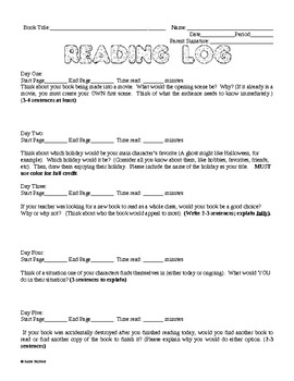 Reading Logs - Pack #3 - Entire Semester's Worth