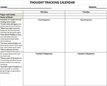 Reading Logs-Thought Tracking Calendar
