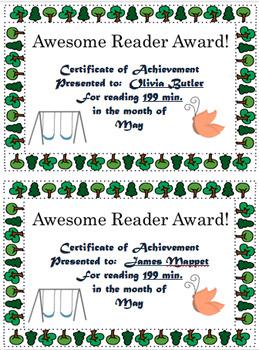 Reading Logs and Awards May