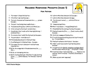 Reading Logs and Response Prompts (for SSR or Independent Reading)
