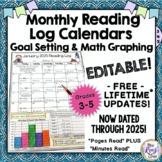 Reading Logs Editable Monthly Reading Calendars with FREE LIFETIME UPDATES!