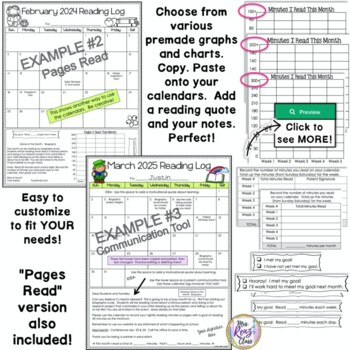 Reading Logs - Editable Monthly Reading Calendars with FREE LIFETIME UPDATES!
