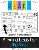 Reading Logs for BIG KIDS!