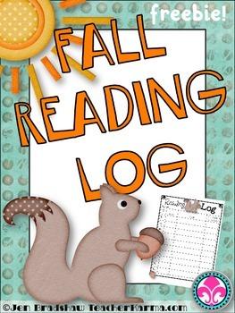Reading Logs for Fall ~ FREEBIE ~  Autumn Theme {Squirrel}