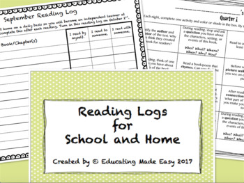 Reading Logs with Student Data Collection Pages!