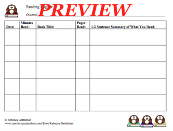 Eight Reading Logs for Independent Reading--Color and Black and White, Set 1