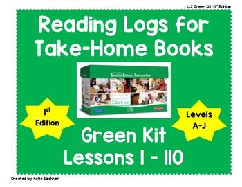 Reading Logs for Lessons 1-110 Green LLI Kit