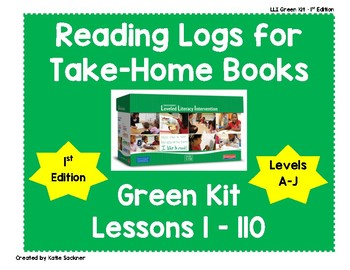 Reading Logs for Lessons 1-110 Green LLI Kit