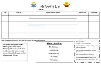 Reading Logs for Seven Reading Strategies!