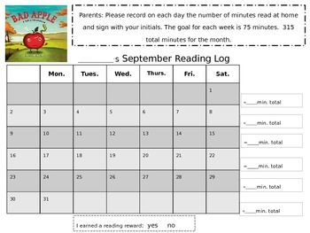 Reading Logs for the year-EDITABLE