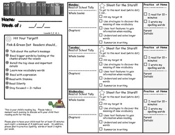 Reading Logs with Goal Setting A-M+