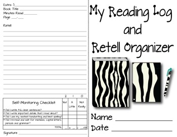 Reading Logs/Retell Organizer w/ Self-Monitoring to Facilitate Independence