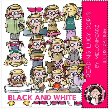 Reading Lucy Doris by Melonheadz BLACK AND WHITE