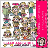 Reading clip art - Lucy Doris - BLACK AND WHITE- by Melonheadz