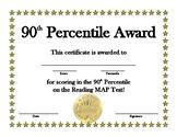 Reading MAP 90th Percentile Award
