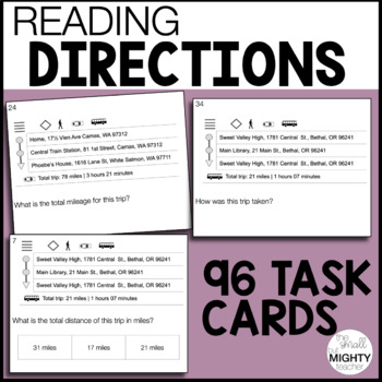 Reading Map Directions Task Cards  / Life Skills, Special Education, Vocational