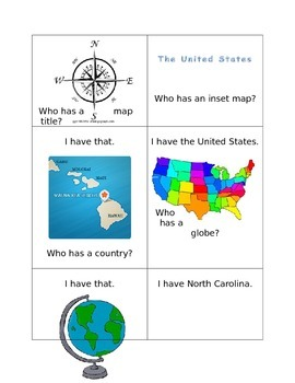 Reading Map Skills -- I Have... Who Has?