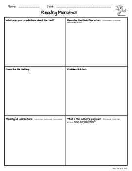 Reading Marathon Reading Workshop Activity Pack