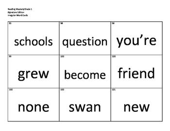 Reading Mastery Grade 1 Irregular Word Cards *COMPLETE SET*