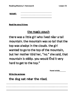 Reading Mastery Grade 1 Signature Edition Homework Lessons 51-100