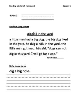 Reading Mastery Grade 1 Signature Edition Homework Lessons 1-50