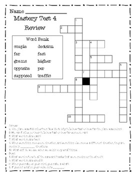 Reading Mastery II Mastery Test Crossword Puzzle Review For Tests 1-5