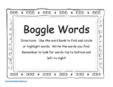 Reading Mastery K Boggle Word Find and Record lesson 21