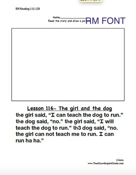 Reading Mastery K - Draw Picture for Reading Passages Lessons 115-120