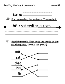 Reading Mastery K Signature Homework Lessons 81-100