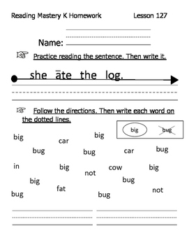 Reading Mastery K Signature Homework Lessons 121-140