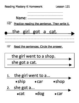 Reading Mastery K Signature Homework Lessons 121-140