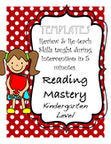 Reading Mastery K: Review Templates for every week!!