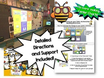 Reading & Math Busy Bee Themed Bundle of Automated PowerPoints for centers