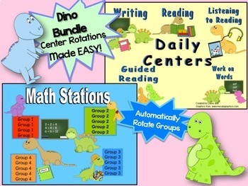 Reading & Math Dinosaur Themed Bundle of Automated PowerPoints for centers