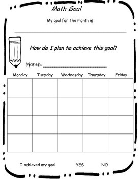 Reading & Math Goal Sheets