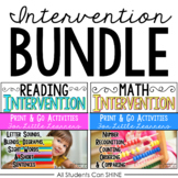 Reading & Math Intervention Bundle K-1st Grade - Printable