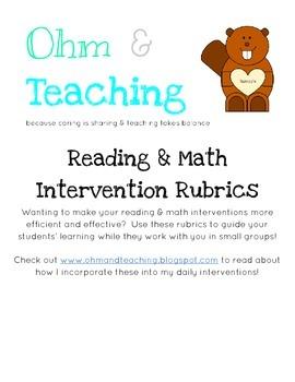 Reading & Math Intervention Rubrics
