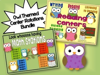 Reading & Math Owl Themed Bundle of Automated PowerPoints