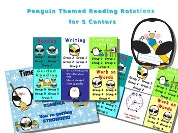 Reading & Math Penguin Themed Bundle of Automated PowerPoints for centers
