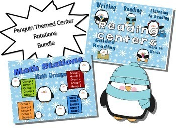 Reading & Math Penguin Themed Bundle of Automated PowerPoi