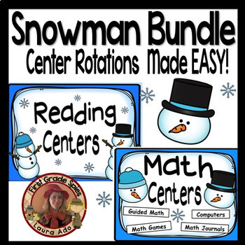 Reading & Math Center Rotations Automated PowerPoint Bundle Snowman Theme