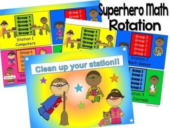 Superhero Themed Reading & Math Bundle of Automated PowerPoints for centers