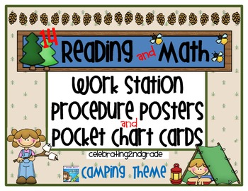 Reading/ Math Work Station Procedure Posters/Pocket Chart Cards - Camping Theme