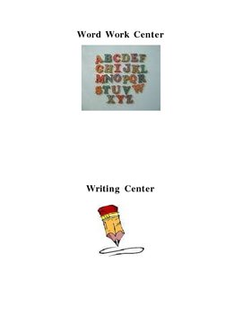 Reading, Math (etc.) Center Signs