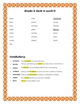 Reading McGraw-Hill Wonders Grade 3 Unit 4 Spelling and Vocabulary