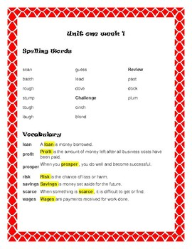 Reading McGraw-Hill Wonders Grade 5 Unit 1 Spelling and Vocabulary