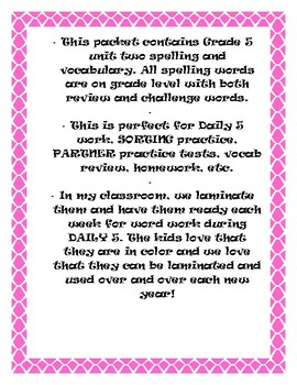 Reading McGraw-Hill Wonders Grade 5 Unit 2 Spelling and Vocabulary
