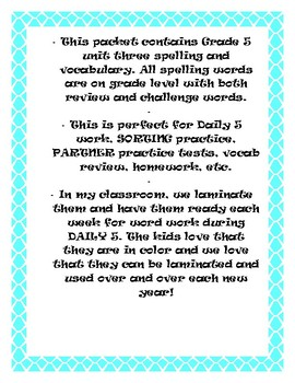 Reading McGraw-Hill Wonders Grade 5 Unit 3 Spelling and Vocabulary