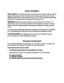 Reading Menu and Author Competition